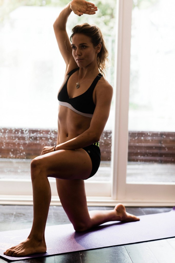 Yoga Position Lunge with a side bend