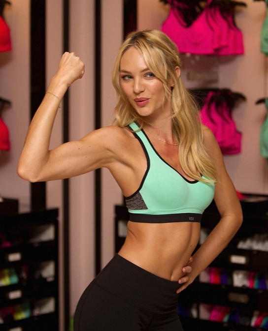 Candice Swanepoel FLEXING Muscles