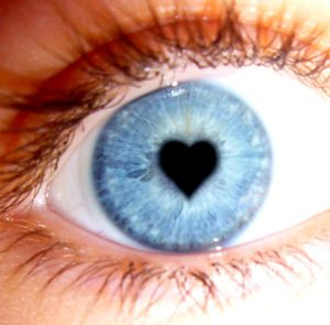 Dilated pupil with an iris heart