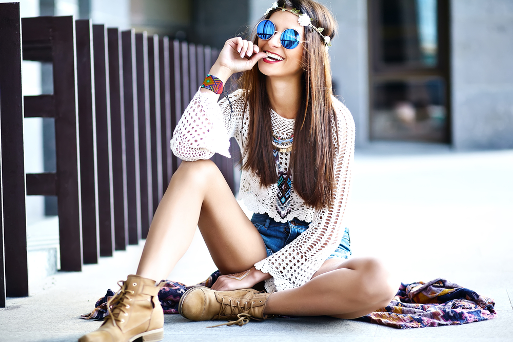 Funny stylish sexy smiling beautiful young hippie woman model